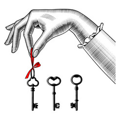 womans hand with old keys vector image