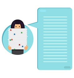 Worker with stack of papers vector image
