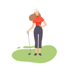 young woman standing with golf club girl golfer vector image