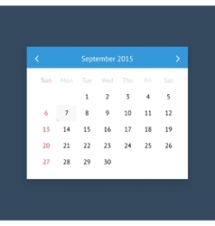 Calendar page for September 2015 vector image vector image
