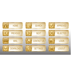 elegant golden web buttons icons set vector image vector image