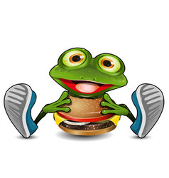 frog eats cheeseburger vector image vector image