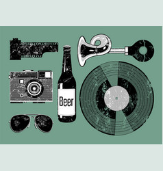 grunge set of retro things for hipster vector image vector image