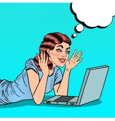 Pop art happy beautiful woman with laptop at home vector