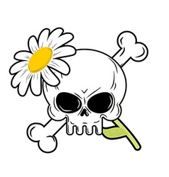 Skull and flower symbol of death and symbol of vector image vector image