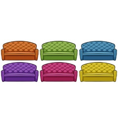 Sofa in six different colors vector image