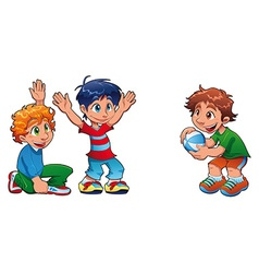 Three kids are playing vector image vector image