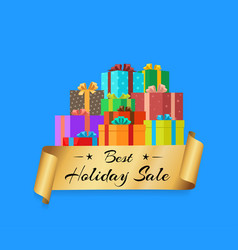 best holiday sale poster with gold ribbon gift box vector image