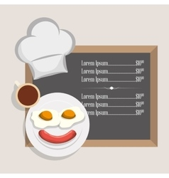 Menu breakfast restaurant fried egg sausage and vector