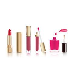 Beautiful cosmetic set in gold lipstick lip vector