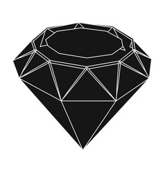diamond icon in black style isolated on white vector image vector image