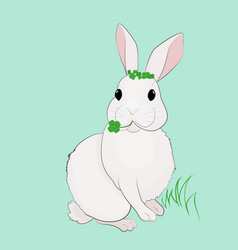 easter bunny and four leaf clover vector image