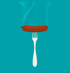 flat sausage on a fork vector image vector image