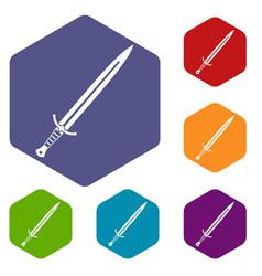 Long sword icons set hexagon vector