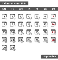 September 2014 Calendar Icons vector image vector image