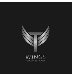 Wings T letter logo vector image vector image