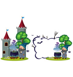 wizard and magic brew at the castle vector image