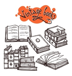Books Set Black And White vector image