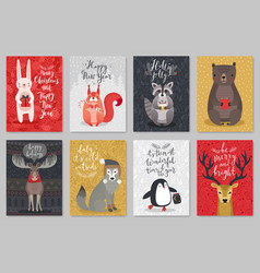 christmas animals card set christmas animals card vector image