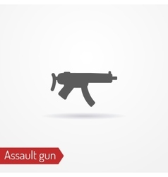 Compact assault weapon silhouette icon vector image vector image