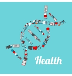 DNA helix with sketched medical icons vector image vector image