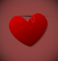 Heart shape paper with paperclip vector image