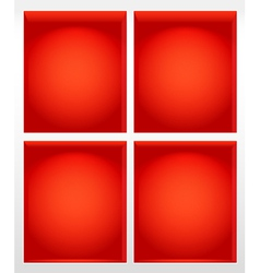Illuminated empty red book shelves vector image vector image