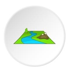 River avd mountains icon cartoon style vector image