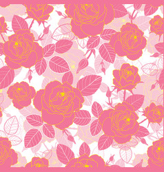 vintage pink and yellow gold roses and vector image