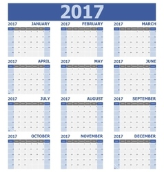 2017 calendar week starts on Sunday 12 months set vector image