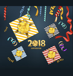 2018 happy new year background with golden gift vector