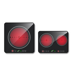 3d realistic black induction cooktops vector