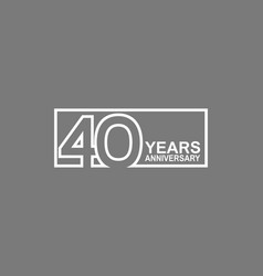 40 years anniversary logotype with white color vector