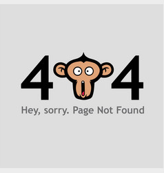 404 page not found with monkey face screaming vector