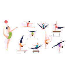Acrobatic people gymnasts in action poses sport vector