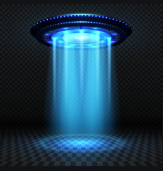 Aliens futuristic spaceship ufo with blue lights vector