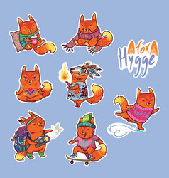 Animal set of stickers with fox vector