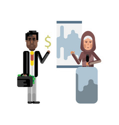 arabic woman doing business presentation vector image