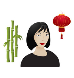 asian girl vector image