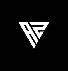 az logo letter monogram with triangle shape vector image