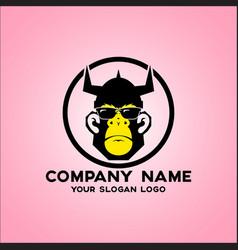 bespectacled monkey logo vector image
