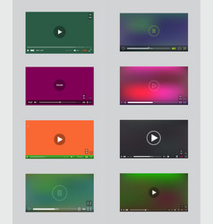 big set video player window with menu and buttons vector image