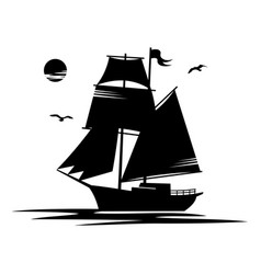 black silhouettes sailing ship isolated white vector image