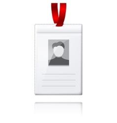Blank vertical badge holder with place vector