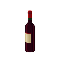 Bottle of red dry wine with label alcoholic vector