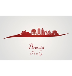Brescia skyline in red vector image
