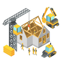 Building under construction isometric pictures vector