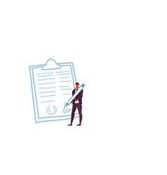 businessman holding pen signed up contract vector image