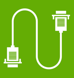 cable wire computer icon green vector image