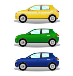 Car kit hatchback in three colors vector